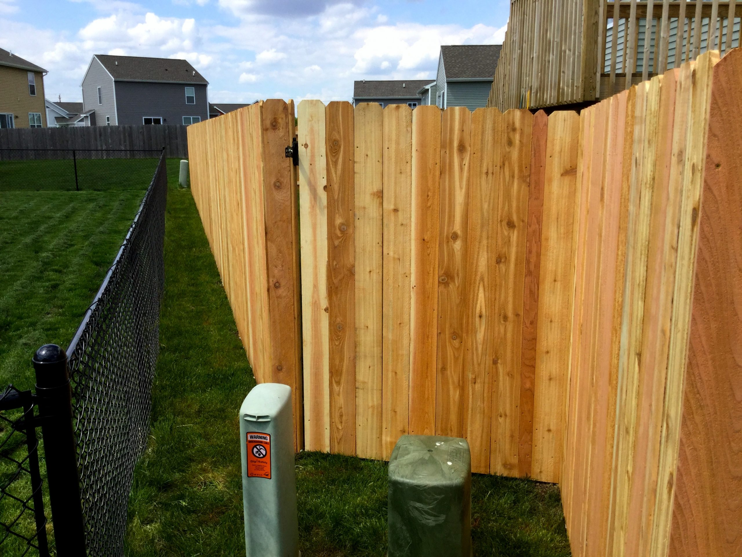 4' Black Chainlink & 6' Dog Eared Top Cedar Privacy Fence